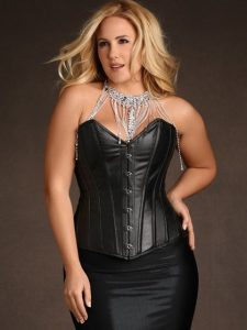 Stella Rose Black Leather Steel Boned Corset - Plus Size