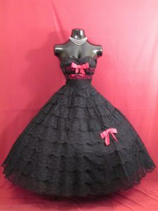 Black Lace Vintage 1950s Strapless Tiered Prom Dress