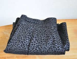 Vintage 1980s Black Suede Leather Leopard Print Punk Skirt