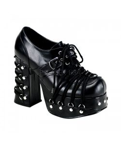 Demonia Charade 35 Gothic Black Platform Corset Shoes