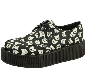 T.U.K. Black All Over Kitty Cat Face Creepers