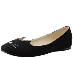 T.U.K. Black Kitty Cat Face Vegan Flats