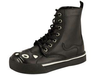 T.U.K. Black Kitty Face Sneaker Boots