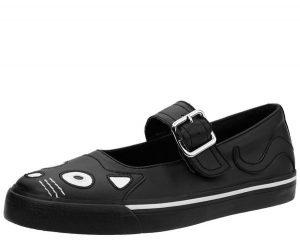 T.U.K. Black Kitty Face VLK Vegan Mary Jane Shoes