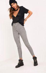 Stefanie Black Gingham Check Skinny Trousers