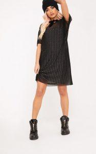 Kanayarr Gingham & Mesh 2-in-1 Dress Black
