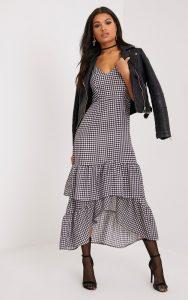 Kanayla Black Gingham Frill Midaxi Dress