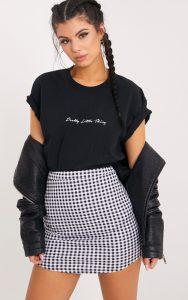 Malena Black Gingham Curve Hem Mini Skirt