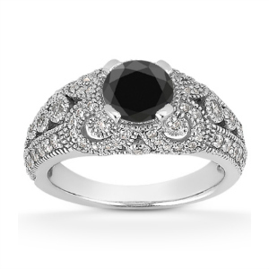 0.89 Carat Black and White Diamond Gothic Engagement Ring