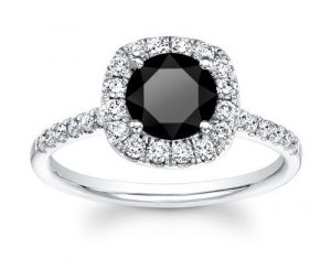 1ct Round Black Diamond Gothic Engagement Ring