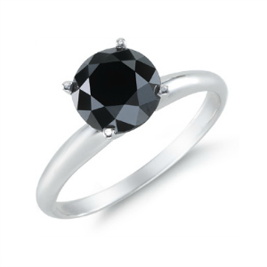 2 Carat Black Diamond Solitaire Gothic Engagement Ring
