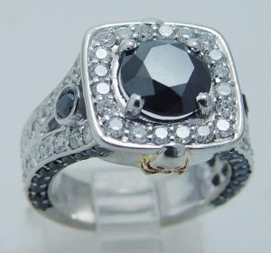 3.20cts White Black Diamonds Gothic Skull Engagement Ring