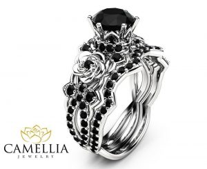 black diamond gothic engagement rings wedding band set - Goth Wedding Rings