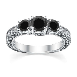 Black Diamond Three-Stone Gothic Engagement Ring
