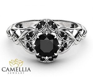 Black Diamond White Gold Gothic Engagement Ring