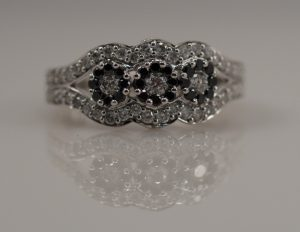 Black White Diamond Three Stone Gothic Engagement Ring
