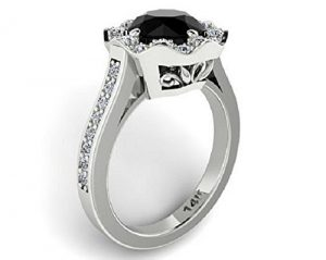 Gothic Flower Black Diamond Engagement Ring