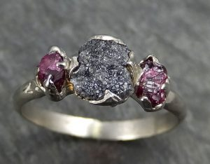 Raw Rough Black Diamond Ruby Gothic Engagement Ring