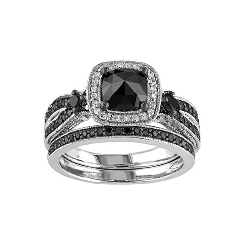 Black Diamond Gothic Wedding Ring Set