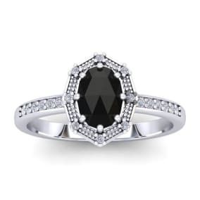 Rose Cut Oval Black Diamond Gothic Engagement Ring