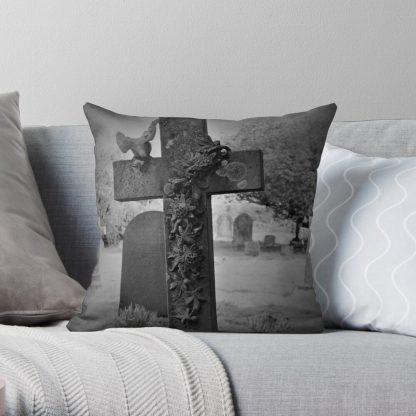 Gothic Cross Gravestone Throw Pillow