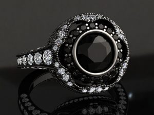 1.00 Carat Victorian Inspired Natural Black Diamond Engagement Ring