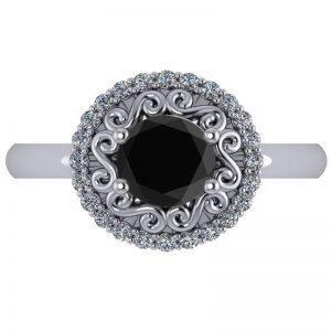 1.24ct White & Black Diamond Halo Engagement Ring 14k White Gold