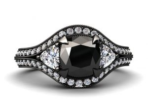 1.30ct Cushion Cut Black Diamond Engagement Ring In Black Gold