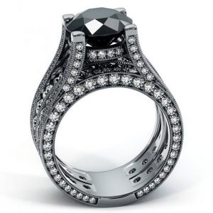 12.63ct Natural Black Diamond Engagement Ring 14K Black Gold