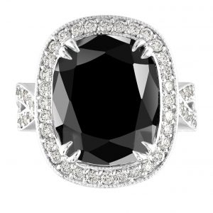 18.65 Carat Black Diamond Engagement Wedding Ring