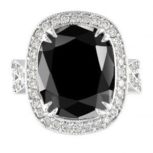 18.65 Carat Black Diamond Art Deco Platinum Engagement Ring