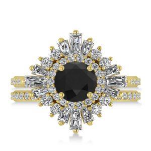 2.74 ct Black Diamond Ballerina Engagement Ring Yellow Gold
