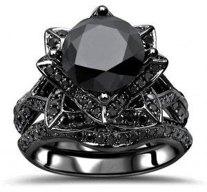 3.20ct Black Diamond Lotus Flower Engagement Ring Wedding Set 14K Black Gold