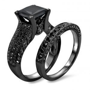 4.35ct Princess Cut Black Diamond Engagement Ring Wedding Bridal Set