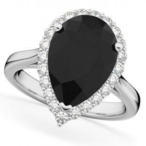 4.69ct Pear Black Diamond Engagement Ring 14K White Gold