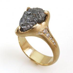 5 Carat Natural Raw Black Diamond Engagement Ring