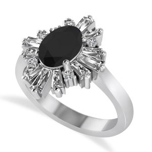 Black Diamond Oval Cut Ballerina Engagement Ring