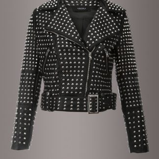 Black Faux Leather All Over Studded Biker Jacket