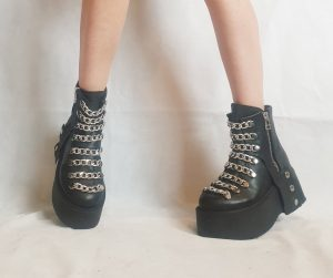 Black Leather Gothic Platform Chain Zip Ankle Boots