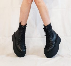 Black Leather Gothic Flatform Lace Up Ankle Boots