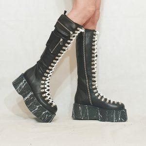 Black Leather Gothic Splatter Flatform Tie Front Knee High Boots