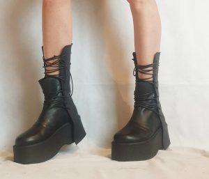 Black Leather Gothic Tie Lace Platform Ankle Boots